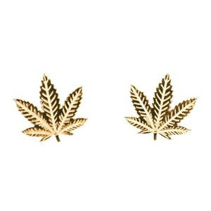 14k Solid Gold Weed Studs